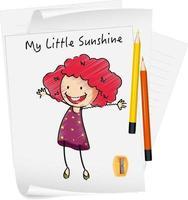 esquisser le personnage de dessin animé de petits enfants sur papier isolé vecteur