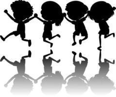 ensemble, de, gosses, silhouette, à, ombre
