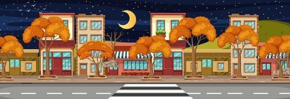 De nombreux bâtiments de magasins le long de la scène horizontale de la rue pendant la nuit vecteur