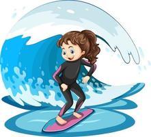 fille debout sur une planche de surf avec vague d & # 39; eau vecteur