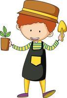 petit personnage de dessin animé de jardinier doodle vecteur