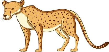 style de dessin animé léopard isolé sur fond blanc vecteur
