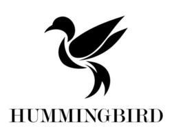 vecteur de logo noir d & # 39; un colibri volant eps 10