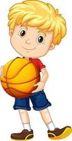 mignon, jeune garçon, dessin animé, caractère, tenue, basket-ball vecteur