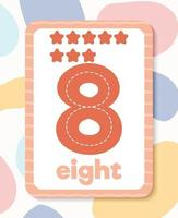flashcard numéro éducatif coloré imprimable vecteur
