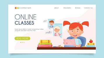 classes en ligne. concept de page de destination. design plat, illustration vectorielle.