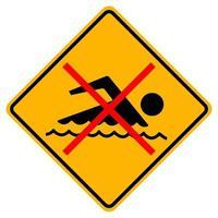 signe interdit de nager sur fond blanc