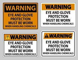 panneau d'avertissement des lunettes de protection et des gants doivent être portés lors de la manipulation de produits chimiques vecteur