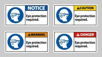 Signer une protection oculaire requise sur fond blanc