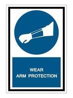 Symbole d'usure signe de protection du bras isoler sur fond blanc, illustration vectorielle eps.10