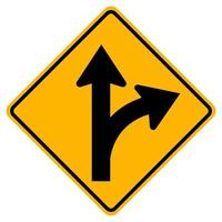 continuer tout droit ou tourner à droite panneau routier vecteur