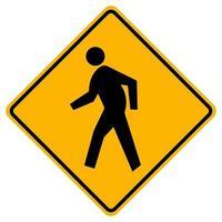 Signe de symbole de trafic de passage pour piétons isoler sur fond blanc, illustration vectorielle