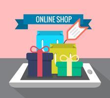 Shopping en ligne vecteur