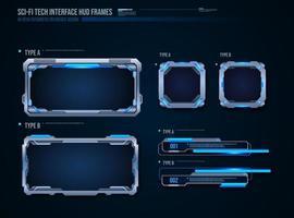 technologie futuriste cadres interface conception d'éléments hud pour les jeux d'interface utilisateur Web et application. interface utilisateur futuriste. modèle de conception de vecteur
