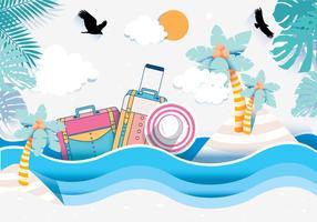 Vecteur de Papercraft de plage
