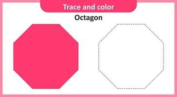 trace et couleur octogone vecteur