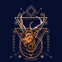 Tête de cerf avec motif de géométrie sacrée sur fond noir-vector illustration rétro