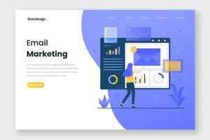 concept d & # 39; illustration de page de destination marketing par courrier électronique vecteur