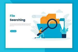 page de destination de recherche de fichier de concept illustration moderne vecteur