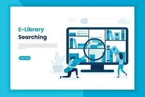 Page de destination du concept de recherche de bibliothèque électronique vecteur