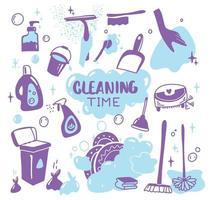 fournitures de nettoyage doodle isolé sur blanc. produits de nettoyage, bouteilles, spray, éponge, brosse, gants. divers articles ou outils de nettoyage. concept de travaux ménagers. vecteur