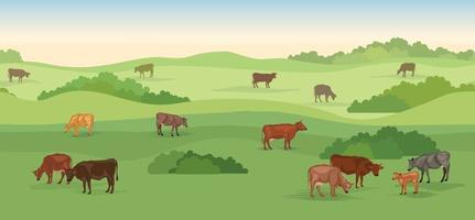 paysage de ferme laitière rurale avec des vaches sur un horizon panoramique sans soudure. skyline de collines, prairies, arbres et champs. fond de nature d'été. herbe de pâturage pour les vaches. vecteur