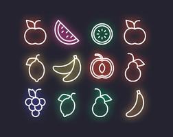 Fruits au néon de vecteur