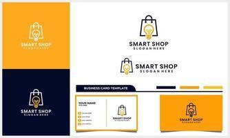 sac de magasin avec concept de design de logo ampoule intelligente symbole et ensemble de modèles de carte de visite vecteur