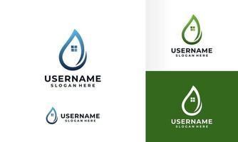 création de logo de goutte deau avec jeu de symboles de maison vecteur
