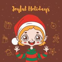 voeux de noël avec joyeux elfe de dessin animé vecteur