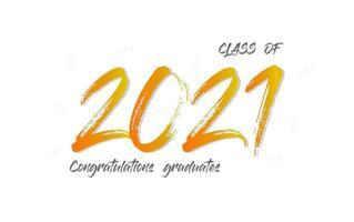 classe de 2021. le concept pour la conception de l'obtention du diplôme. carte de félicitations avec texte de lettrage sur fond blanc. vecteur.