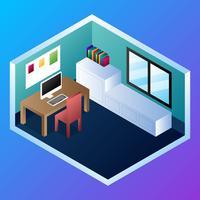 Bureau à domicile concept Illustration vectorielle isométrique
