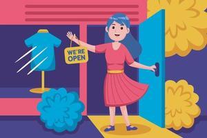 promotion de la jeune femme boutique ouverte sur le marché en ligne vecteur