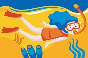 fille en masque de plongée en apnée plonge sous l'eau avec des poissons tropicaux dans la piscine de la mer des récifs coralliens. vecteur