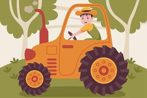 agriculteur homme heureux conduisant un tracteur dans le jardin. vecteur