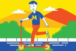jeune homme jouant sur scooter sur route. vecteur