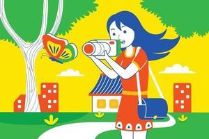 jeune femme photographiant papillon dans le parc. vecteur