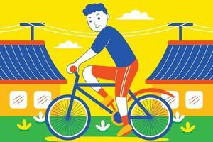 heureux jeune homme à vélo devant la maison de ville. vecteur