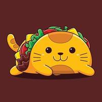 illustration mignonne de chat taco avec style cartoon plat. vecteur