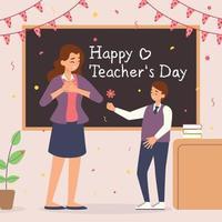 bonne journée des enseignants, l'élève donne des fleurs à l'enseignant vecteur