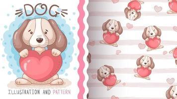 Chien animal de personnage de dessin animé enfantin avec coeur vecteur