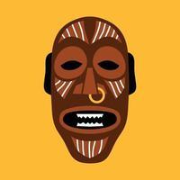 masque rituel africain. illustration vectorielle plane dans des couleurs vives sur jaune. vecteur