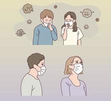 le garçon et la fille portent des masques. une fine poussière flotte. vecteur