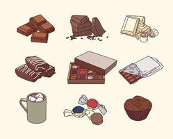 une variété de desserts au chocolat. vecteur