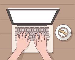 mains faisant un ordinateur portable à une table de café. vecteur