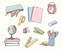 diverses fournitures scolaires. vecteur