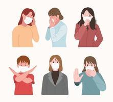 une collection de personnages portant des masques. vecteur