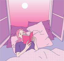 une fille est allongée près de la fenêtre et lit un livre. vecteur