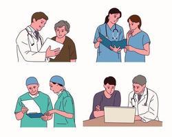 les médecins discutent des dossiers avec d'autres. vecteur