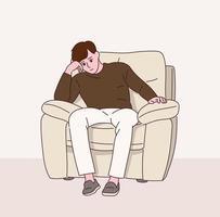 un homme est pensif assis sur un canapé avec une expression sérieuse. vecteur